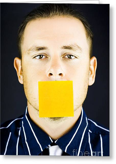 Overwork Greeting Cards - Man with blank paper note over his mouth Greeting Card by Ryan Jorgensen
