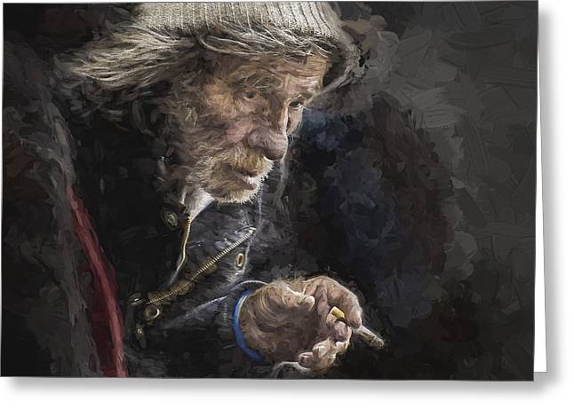 Man With Cigarette Greeting Card by Avalon Fine Art Photography