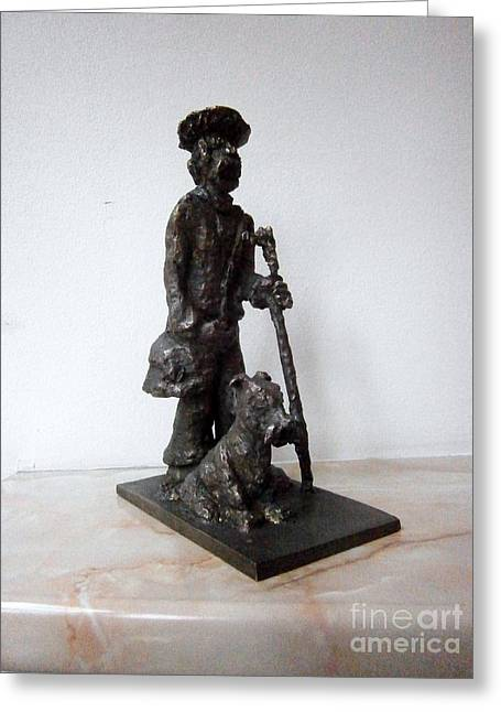Humor Sculptures Greeting Cards - Man with Dog Greeting Card by Milen Litchkov