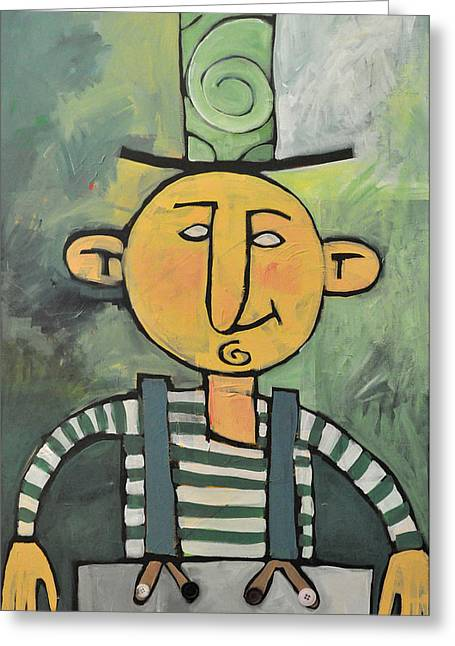 Suspenders Mixed Media Greeting Cards - Man with Fancy Hat and Suspenders Greeting Card by Tim Nyberg