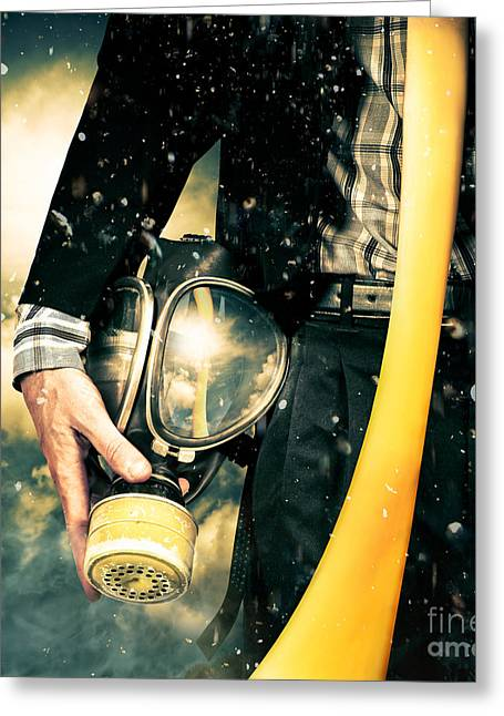 Man With Gas Mask. New Beginning. Skys The Limit Greeting Card by Jorgo Photography - Wall Art Gallery