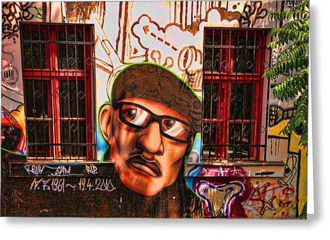Graffiti Art For The Home Greeting Cards - Man with glasses Greeting Card by Graham Hawcroft pixsellpix