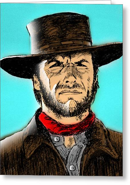 Sergio Leone Greeting Cards - Man with no name Greeting Card by Salman Ravish