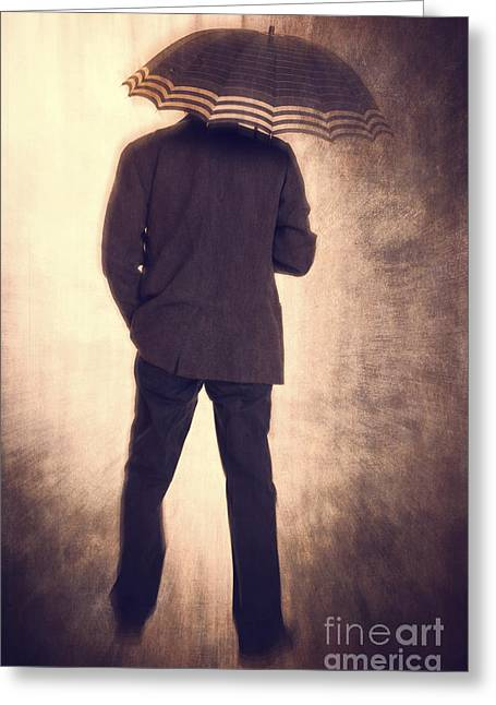 Grunge Photographs Greeting Cards - Man with vintage umbrella Greeting Card by Edward Fielding