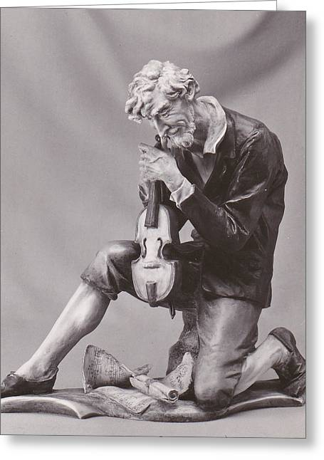Celebrities Pyrography Greeting Cards - Man with violin. Greeting Card by Allan Koskela