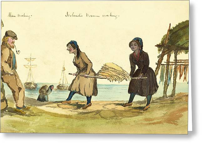 Fishermans Island Greeting Cards - Man working and Icelandic women working circa 1862 Greeting Card by Aged Pixel