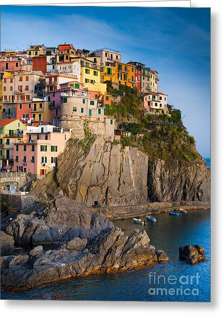 Cinque Terre Greeting Cards - Manarola Afternoon Greeting Card by Inge Johnsson