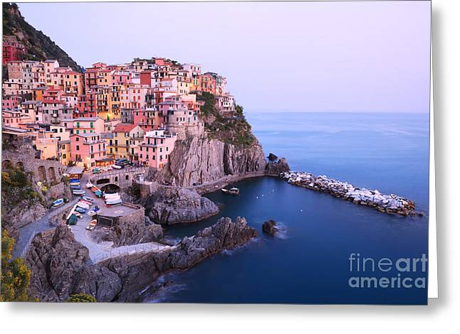 North Italian Town Greeting Cards - Manarola at dusk in the Cinque Terre Italy Greeting Card by Matteo Colombo