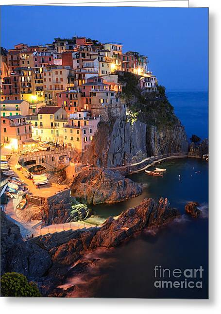 Colombos Greeting Cards - Manarola at night in the Cinque Terre Italy Greeting Card by Matteo Colombo