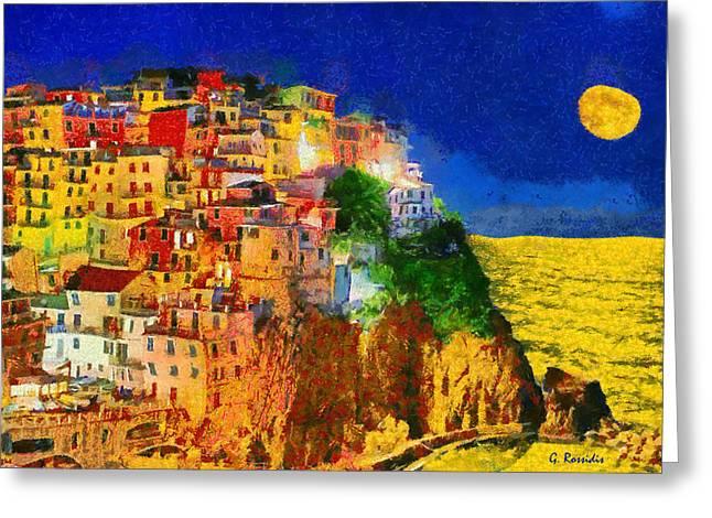 Manarola By Night Greeting Card by George Rossidis