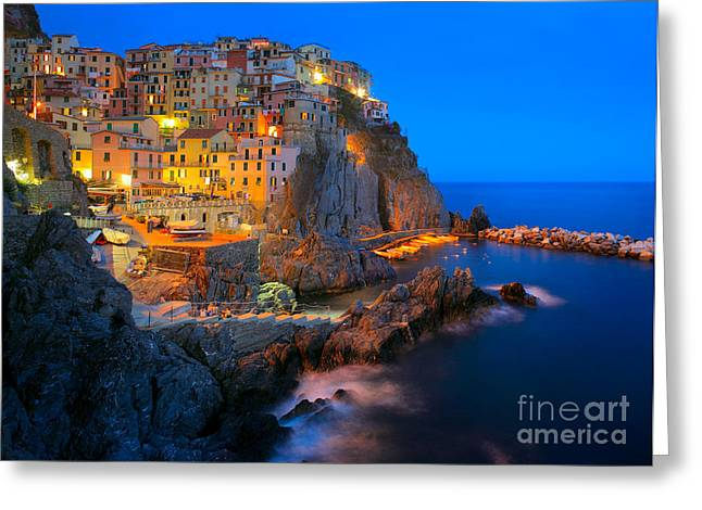 Italian Sunset Greeting Cards - Manarola by night Greeting Card by Inge Johnsson