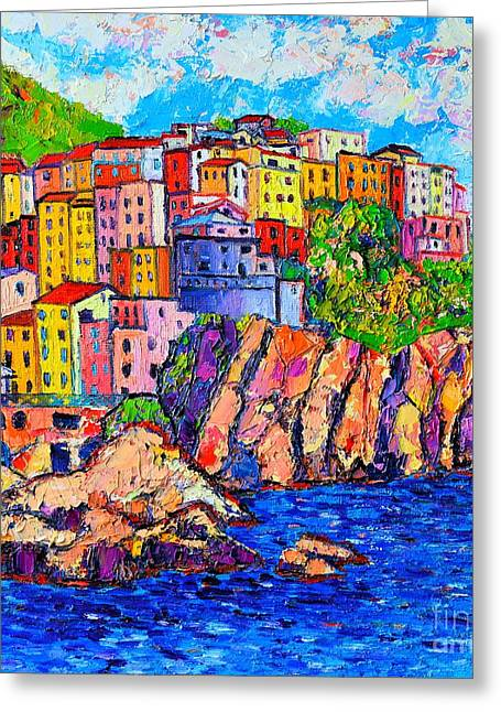 Most Paintings Greeting Cards - Manarola Cinque Terre Italy Detail Greeting Card by Ana Maria Edulescu