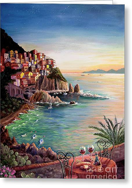 Italian Sunset Greeting Cards - Manarola-Cinque Terre-Italy Greeting Card by Marilyn Smith