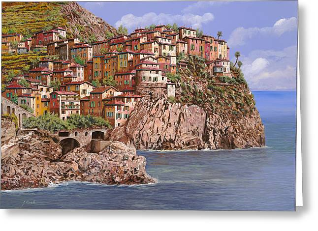 Carmel Greeting Cards - Manarola   Greeting Card by Guido Borelli