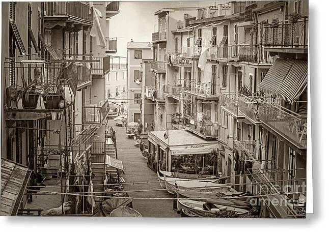 Italian Restaurant Greeting Cards - Manarola in Sepia Greeting Card by Prints of Italy