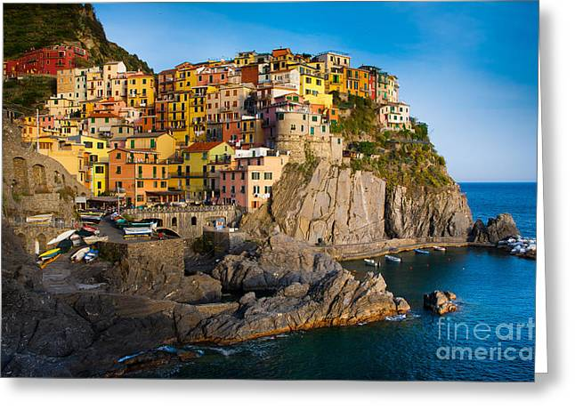 Buildings Greeting Cards - Manarola Greeting Card by Inge Johnsson