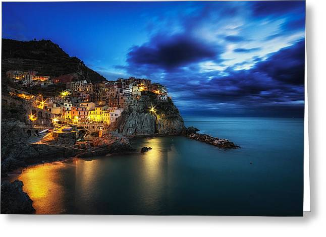 Recently Sold -  - Italian Sunset Greeting Cards - Manarola Greeting Card by Insung Choi