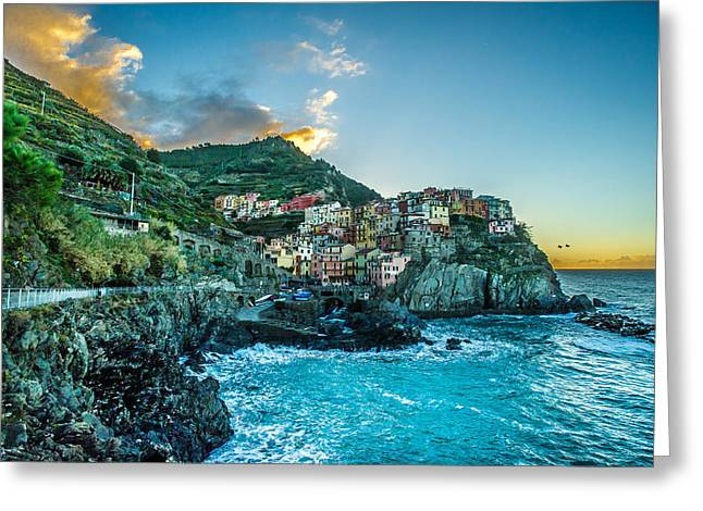 Rock Pyrography Greeting Cards - Manarola Italy Greeting Card by Jed Smith