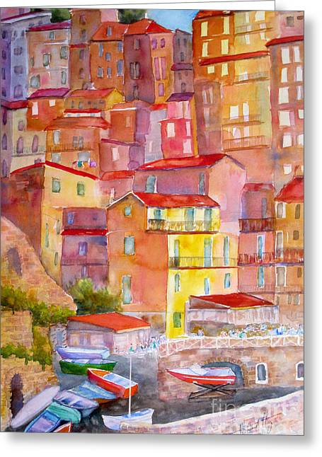 Pictorial Greeting Cards - Manarola Italy Greeting Card by Mohamed Hirji