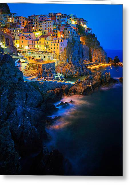 Italian Sunset Greeting Cards - Manarola Lights Greeting Card by Inge Johnsson