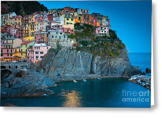 Cinque Terre Greeting Cards - Manarola Sera Greeting Card by Inge Johnsson