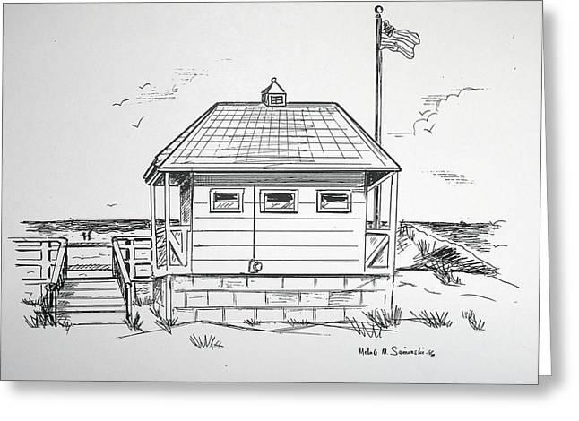 Sandy Beaches Drawings Greeting Cards - Manasquan Bath House Greeting Card by Melinda Saminski