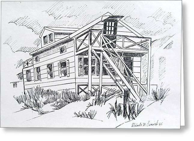 Sandy Beaches Drawings Greeting Cards - Manasquan Beach House Sketch Greeting Card by Melinda Saminski