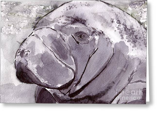Inkwash Greeting Cards - Manatee Greeting Card by Michael Rados