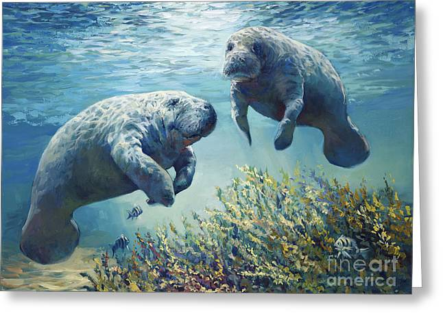 Manatee Greeting Cards - Manatees Greeting Card by Laurie Hein