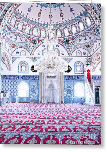 Manavgat Mosque Interior 01 Greeting Card by Antony McAulay