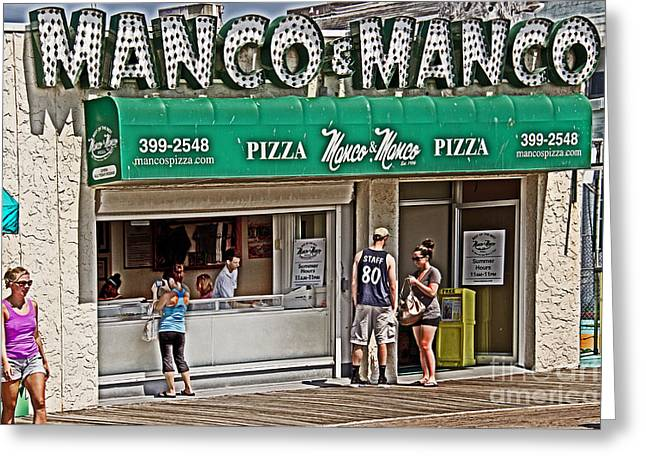 Store Fronts Greeting Cards - Manco and Manco Pizza Greeting Card by Tom Gari Gallery-Three-Photography