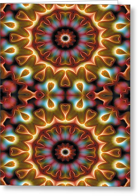 Circle Greeting Cards - Mandala 102 for iPhone Double Greeting Card by Terry Reynoldson