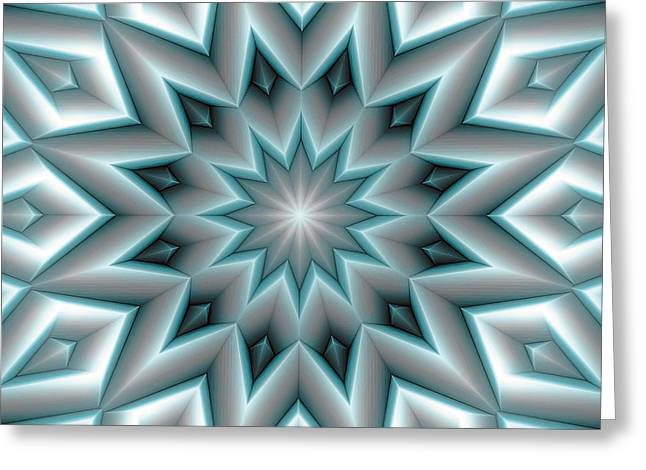 Healing Greeting Cards - Mandala 107 Blue Greeting Card by Terry Reynoldson