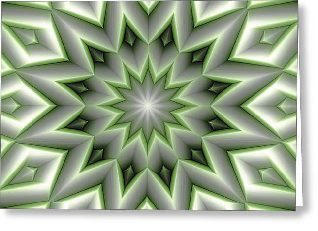 Soothing Greeting Cards - Mandala 107 Green Greeting Card by Terry Reynoldson