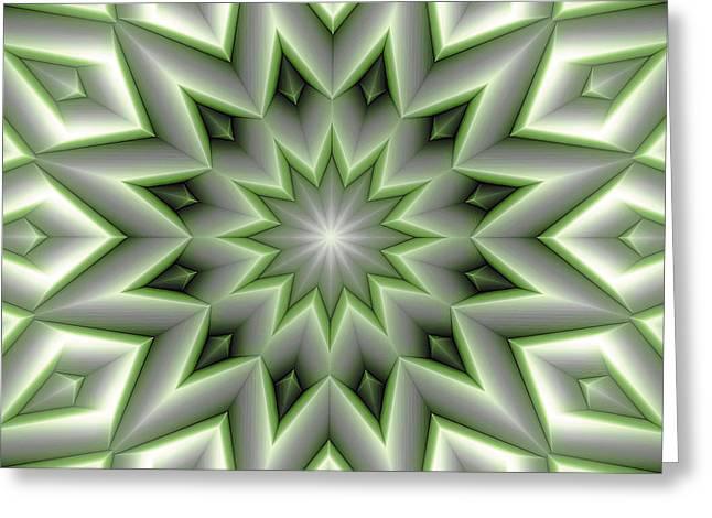 Mandala 107 Green Greeting Card by Terry Reynoldson