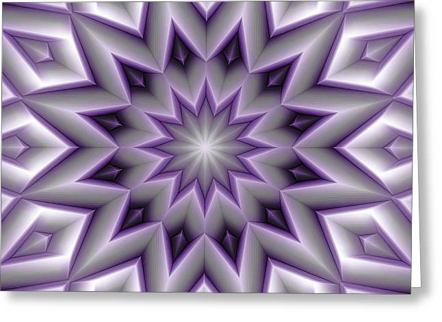 Cosmos Greeting Cards - Mandala 107 Violet Greeting Card by Terry Reynoldson