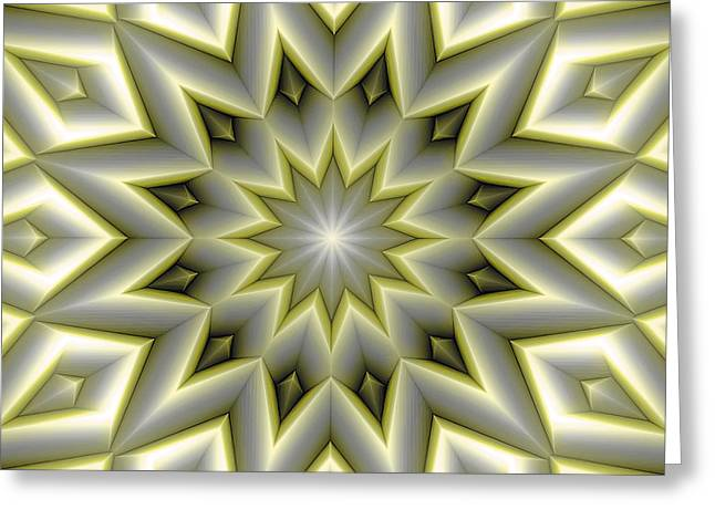 Mandala 107 Yellow Greeting Card by Terry Reynoldson