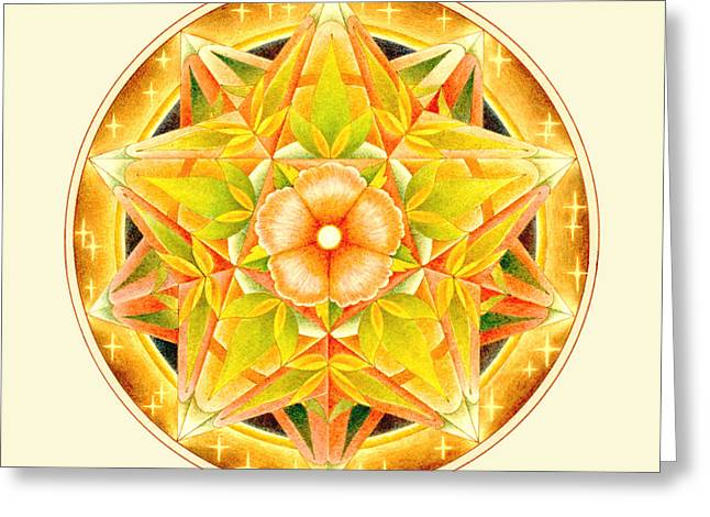 Dodecahedron Greeting Cards - Mandala 5 Greeting Card by Michael Z Tyree