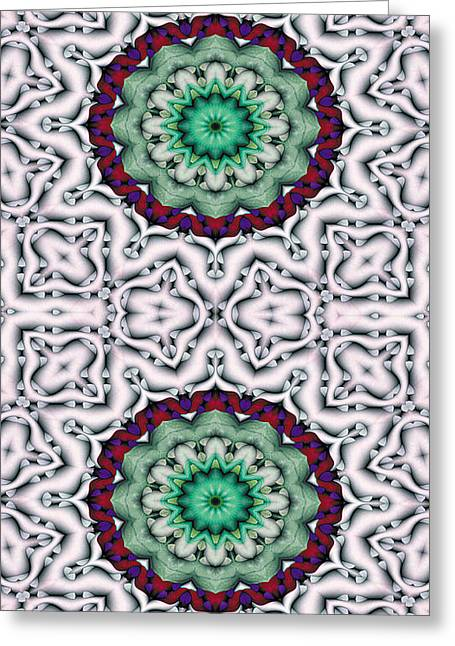Mandala Greeting Cards - Mandala 8 for iPhone Double Greeting Card by Terry Reynoldson