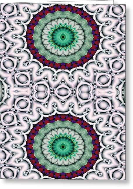 Cosmos Greeting Cards - Mandala 9 for iPhone Double Greeting Card by Terry Reynoldson