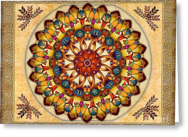 Apricots Mixed Media Greeting Cards - Mandala Ararat V2 sp Greeting Card by Bedros Awak