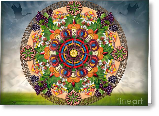 Grape Leaves Mixed Media Greeting Cards - Mandala Armenian Grapes - sp Greeting Card by Bedros Awak