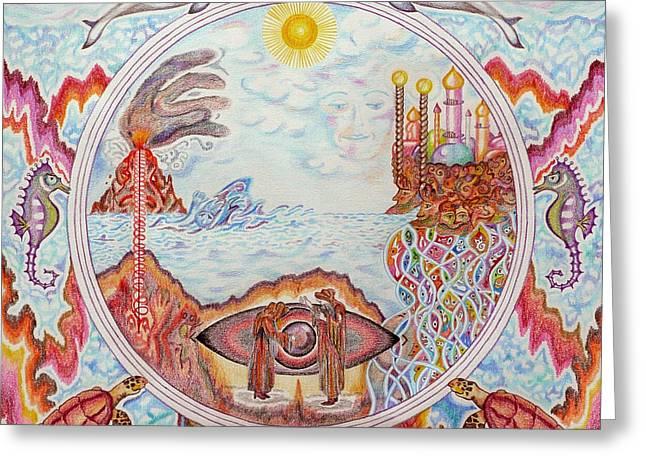 Atlantis Drawings Greeting Cards - Mandala Atlanits Greeting Card by Lida Bruinen