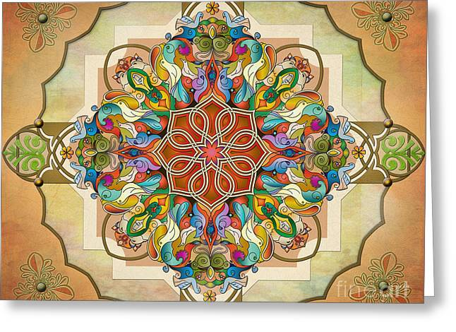 Historic Home Mixed Media Greeting Cards - Mandala Birds sp Greeting Card by Bedros Awak