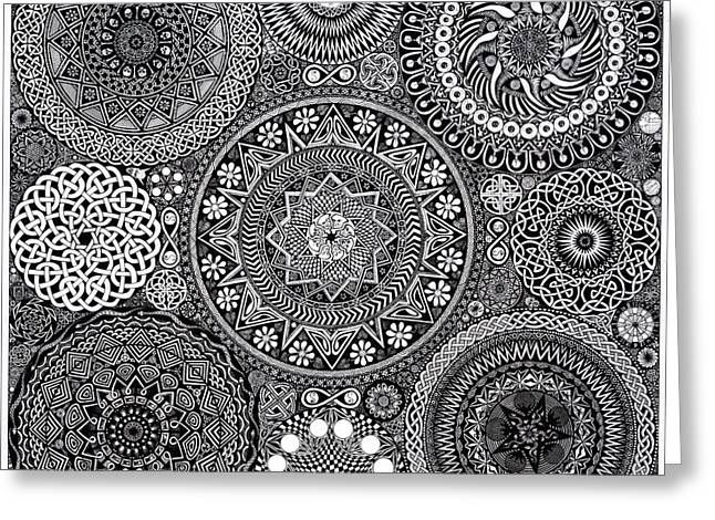 Whites Drawings Greeting Cards - Mandala Bouquet Greeting Card by Matthew Ridgway