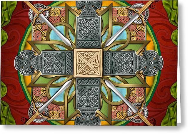 Religious Mixed Media Greeting Cards - Mandala Celtic Glory Greeting Card by Bedros Awak