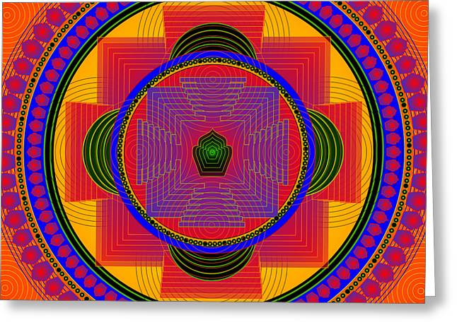 Metaphysics Digital Greeting Cards - Mandala CHRISTOPHER Greeting Card by Sarah  Niebank