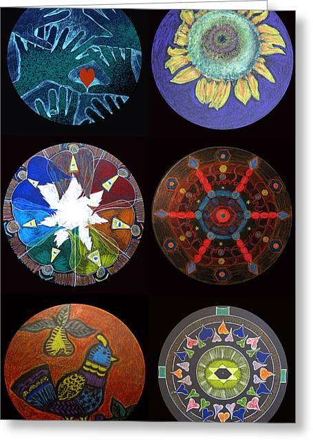 Januszkiewicz Mixed Media Greeting Cards - Mandala Collage Greeting Card by Patricia Januszkiewicz
