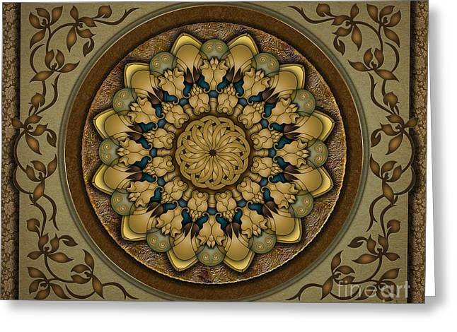 Filigree Greeting Cards - Mandala Earth Shell sp Greeting Card by Bedros Awak