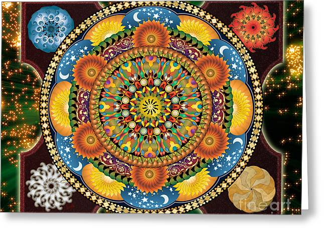 Cosmic Mixed Media Greeting Cards - Mandala Elements sp Greeting Card by Bedros Awak